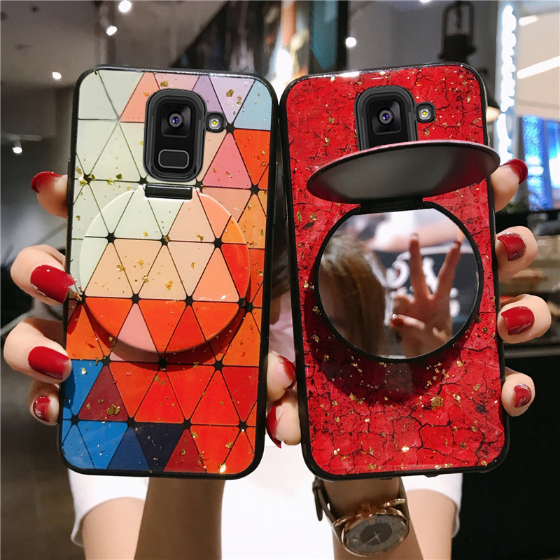 For <font><b>Samsung</b></font> Galaxy A10s A20s A30s A50s A70s A6s A8s A51 A71 A81 A91 A01 M60s M40S With Mirror Bracket Cover Marble Phone Case image