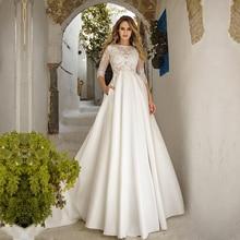 3/4 Sleeves Satin Wedding Dresses A Line Lace Appliques Bridal Wedding Gowns Pockets Vestido De Noiva Back Button Floor Length
