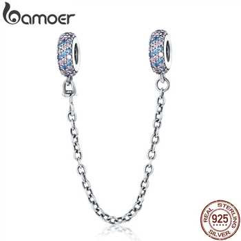 BAMOER Real 100% 925 Sterling Silver Pink and Blue CZ Round Safety Chain Charm Fit Charm Bracelet DIY Jewelry Making SCC379 - DISCOUNT ITEM  30% OFF All Category