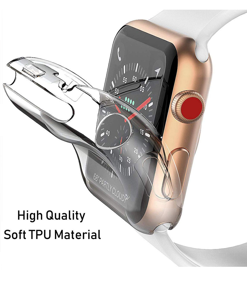 Protector case For Apple Watch 38MM 42MM 40MM 44MM Soft Clear TPU/Aluminum alloy Case For Iwatch series 5 4 3 2 1 Accessories