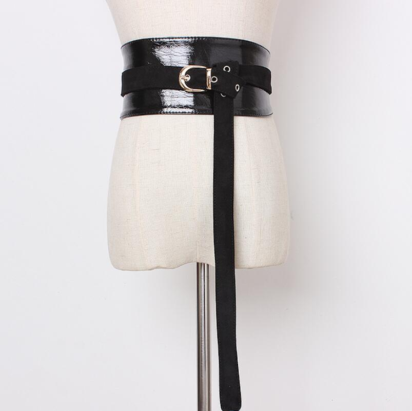 Women's Runway Fashion Patent PU Leather Cummerbunds Female Dress Corsets Waistband Belts Decoration Wide Belt R1986