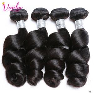 Vanlov Human Hair Bundles Indian Hair Weave Bundles 3PCS Remy Hair Bundles Natural Color/Jet Black Hair Extensions 8-28 Inch