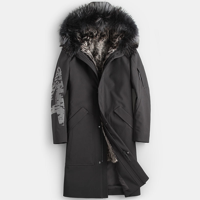 Real Fur Coat Natural Lamb Fur Coat Winter Jacket Men Real Raccoon Fur Collar Warm Parkas Plus Size Jackets Casaco YY867