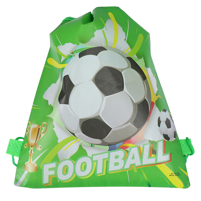 1pcs Football Non-woven Drawstring Bag Backpack Kids Travel School Decor Gift Bags