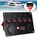 Mayitr 1 шт. 12-24 В 5 банд переключатель включения-выключения панель двойной USB разъем зарядное устройство красный светодиодный вольтметр для авт...