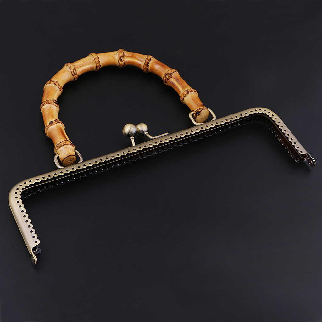 الإطار المعدني قبلة المشبك قفل مع الخيزران مقبض ل DIY محفظة نسائية للعملات المعدنية حقيبة اكسسوارات