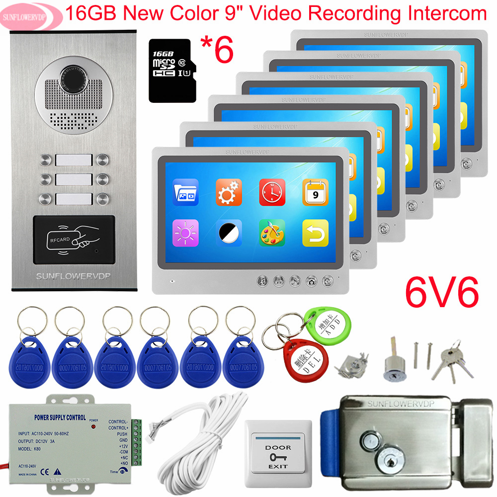 Doorbell Intercom Video Intercom With Recording + 16GB TF Card 9inch Color Intercom To The Apartments Video Intercom With Lock