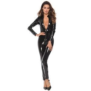 Image 5 - Sexy lateks wygląd Catsuit Faux Leather Cat kobiety kombinezony body z długim rękawem Zip otwórz Crotch Romper kostium Plus rozmiar