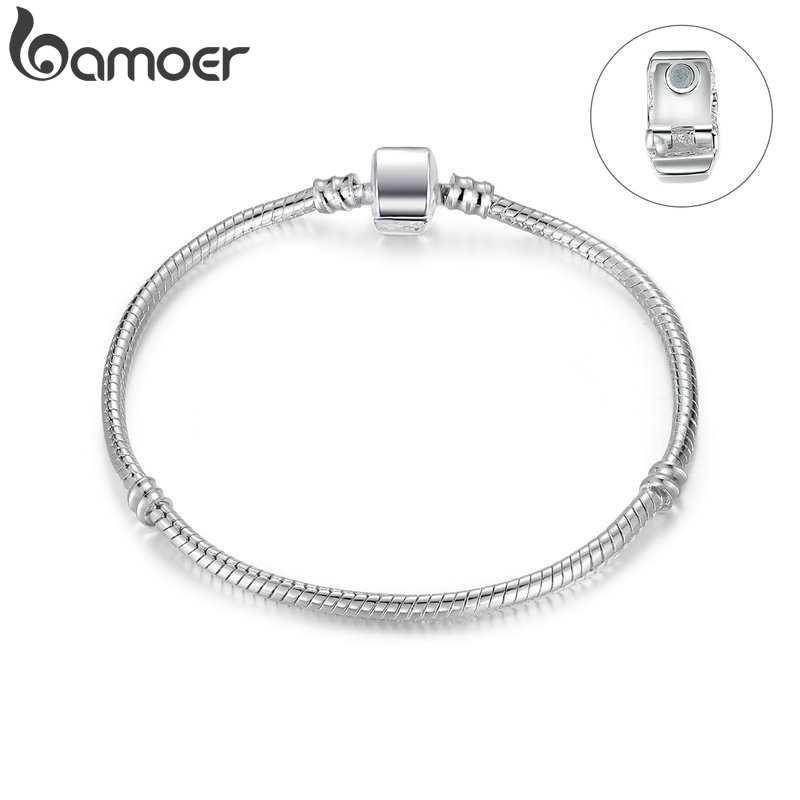 BAMOER różowe złoto kolor i srebrny łańcuszek żmijka łańcuch bransoletki DIY bransoletka biżuteria 16 CM-23 CM 8 rozmiar wybór PA9007