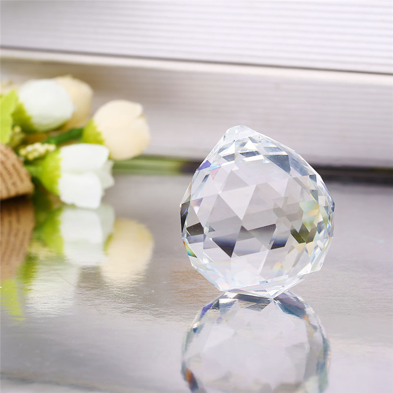 40mm Clear Faceted <font><b>Glass</b></font> <font><b>Crystal</b></font> Ball Prism Chandelier <font><b>Crystal</b></font> Parts Hanging Pendant Lighting Ball <font><b>Suncatcher</b></font> Home Decor image