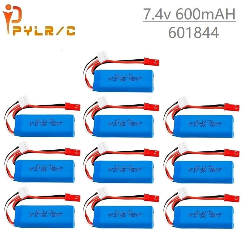 1-10Pcs 7.4V 600mAh Lipo Battery for WLtoys K969 K979 K989 K999 P929 P939 RC Car Parts 2s 7.4v Battery for WLtoys K969 accessory
