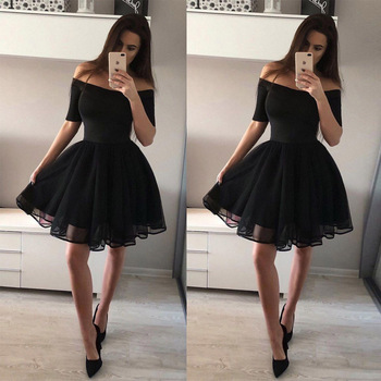 BacklakeGirls Sexy Off Shoulder Short Sleeve Cocktail Dress Short Formal Dress vestido festa Black Color Party Dress