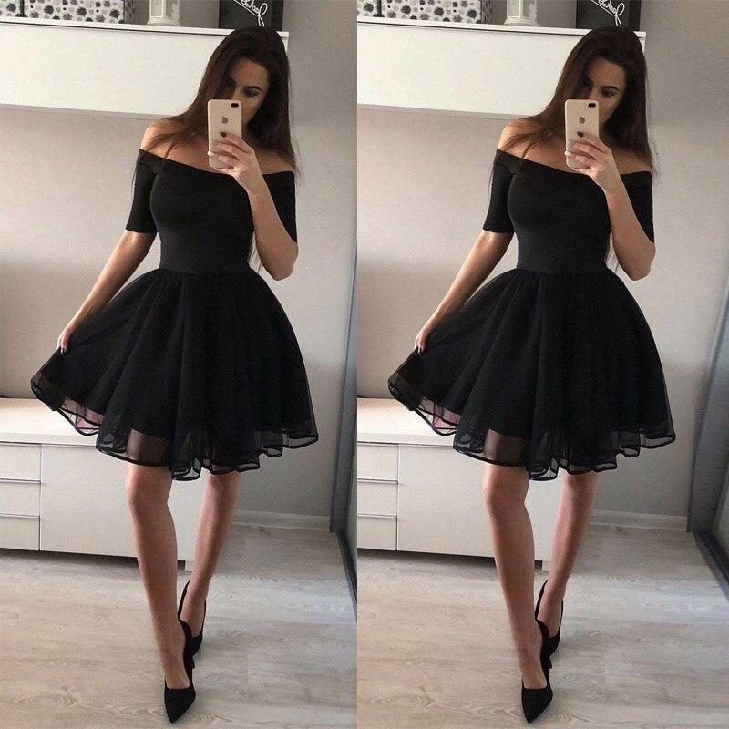 BacklakeGirls Sexy Off Shoulder Short Sleeve   Cocktail     Dress   Short Formal   Dress   vestido festa Black Color Party   Dress