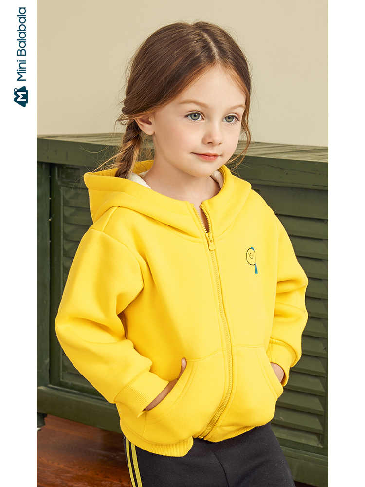 Minibalabala Children jacket girls plus velvet casual clothes 2019 winter new hooded silhouette children clothing