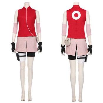 Маскарадный костюм Наруто Харуно Сакура для женщин и девочек, костюм с юбкой, карнавальные костюмы на Хэллоуин