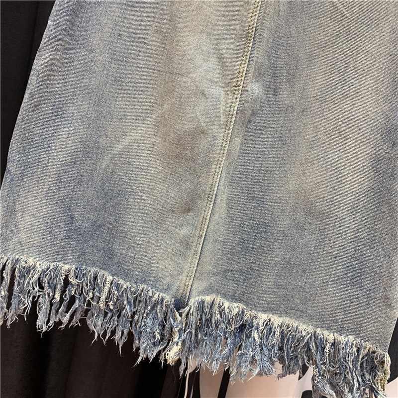 Mooie Meisje Sequin Denim Rokken Vrouwen Verzwakte Ripped Tassel Hoge Kwaliteit Mid Lange Jeans Rok Vrouwelijke 2020 Zomer Streetwear