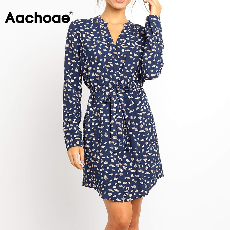 Aachoae Floral Print Casual Shirt Dress Women Long Sleeve Office Dresses 2020 Spring V Neck Button Elastic Waist Mini Dress