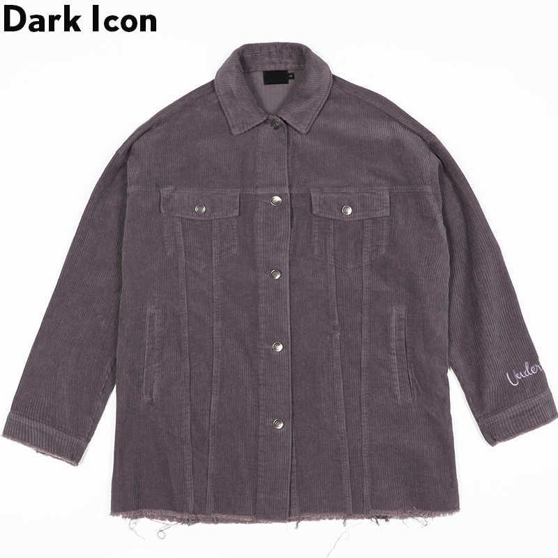 ダークアイコンコーデュロイジャケット男性シングルブレスト解除裾男性のジャケットユニセックスストリートヒップホップジャケット
