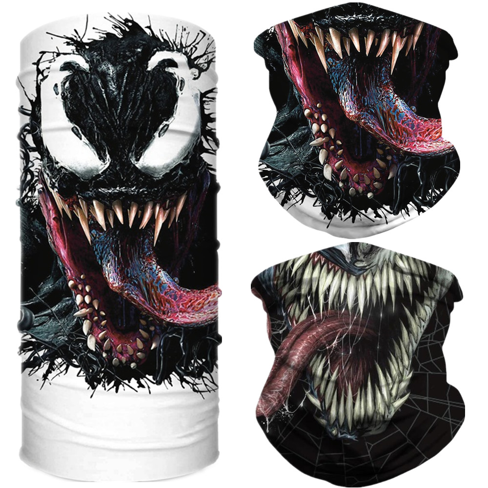 Superhero Venom Spider Peter Parker Motorcycle Cycling Neck Scarf Half Face Mask Bandana Headband Cosplay Adult Masks