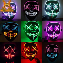 Molezu Led Mask Halloween Party Masque Masquerade Masks Neon Light Glow In The Dark Mascara Horror Glowing Masker
