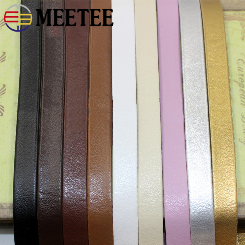 Meetee 5M 5-30mm PU Hemming Ribbon Leather Cords Soft Jewelry Decoration Rope DIY Bracelet Bags Clothes Edge Accessories RD006