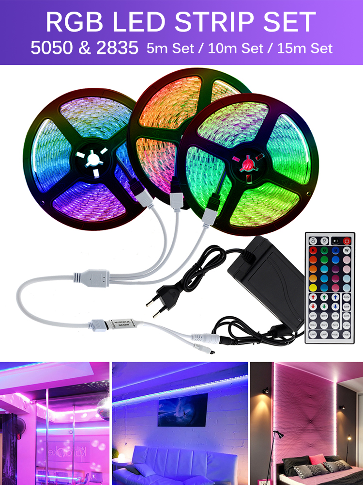 Led-Strip-Light Power-Adapter Remote-Controller Changeable Color Flexible 2835/5050 RGB