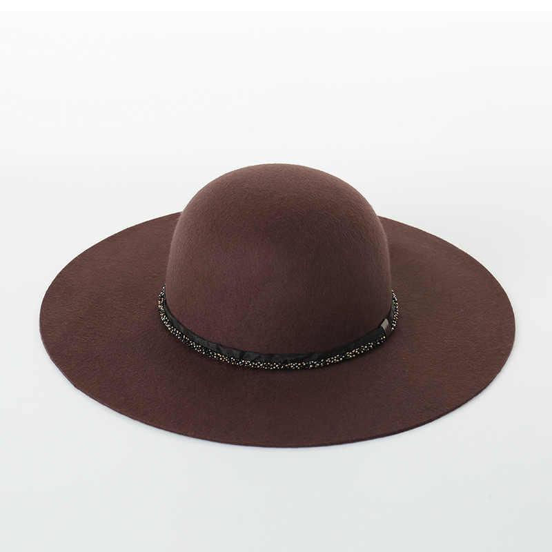 COKK шерстяная шляпа женская шляпа Bristish элегантная круглая шляпа Женская широкая полочка Женская винтажный капор Цепочка Из Бисера дизайнерские кепки Женская