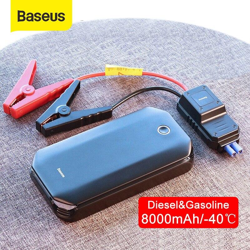 Baseus carro ir para iniciantes dispositivo de partida bateria banco potência 800a jumpstarter buster carro impulsionador de emergência carregador saltar partida