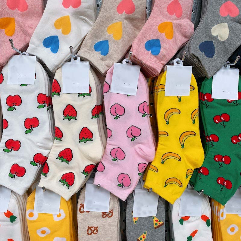 Japanese Creative Funny Socks Women Cotton Fruit Food Peach Strawberry Banana Cherry Pizza Egg Design Happy Cute Socks Skarpetki