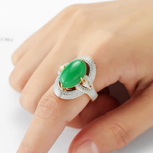 Hot selling beautiful new Europe and America 18K gold inlaid emerald Jasper ring girl(China)