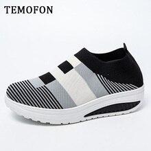 TEMOFON 2020 slip on wedge Sneakers Women Vulcanized
