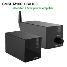 SMSL M100 + SA100 USB DAC AK4452 XMOS XU208 Decoder DSD512 Amp SA100 Professional Power Amplifier HIfi 50w+50w 2018 tda7492 bluetooth amplifier fiber optic coaxial usb dac decoding amplifier 50w 50w hifi amplifier