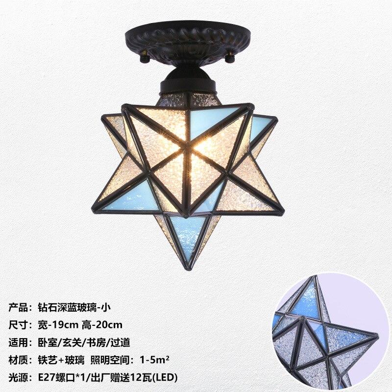 Американская пентаграмма входной свет коридор балкон потолочный светильник спальня столовая креативная звезда стеклянная лампа - Цвет корпуса: E