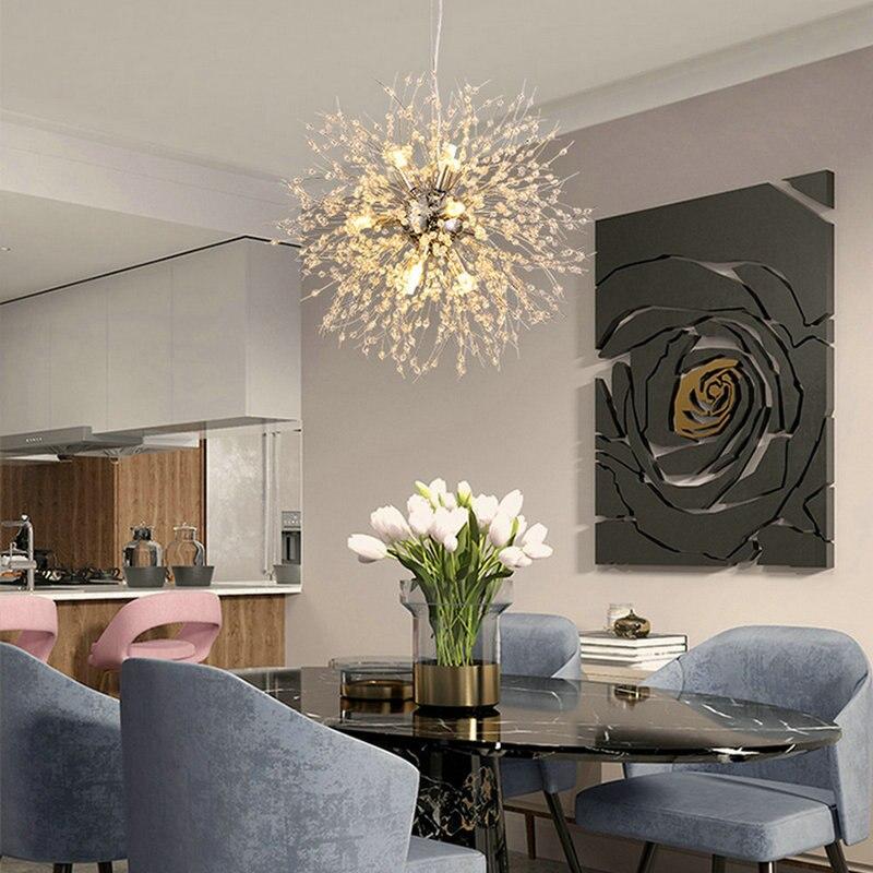 Современный Одуванчик Золотой хром светодиодный хрустальная люстра для спальни гостиной столовой ресторана домашнего интерьера Nodic Декор