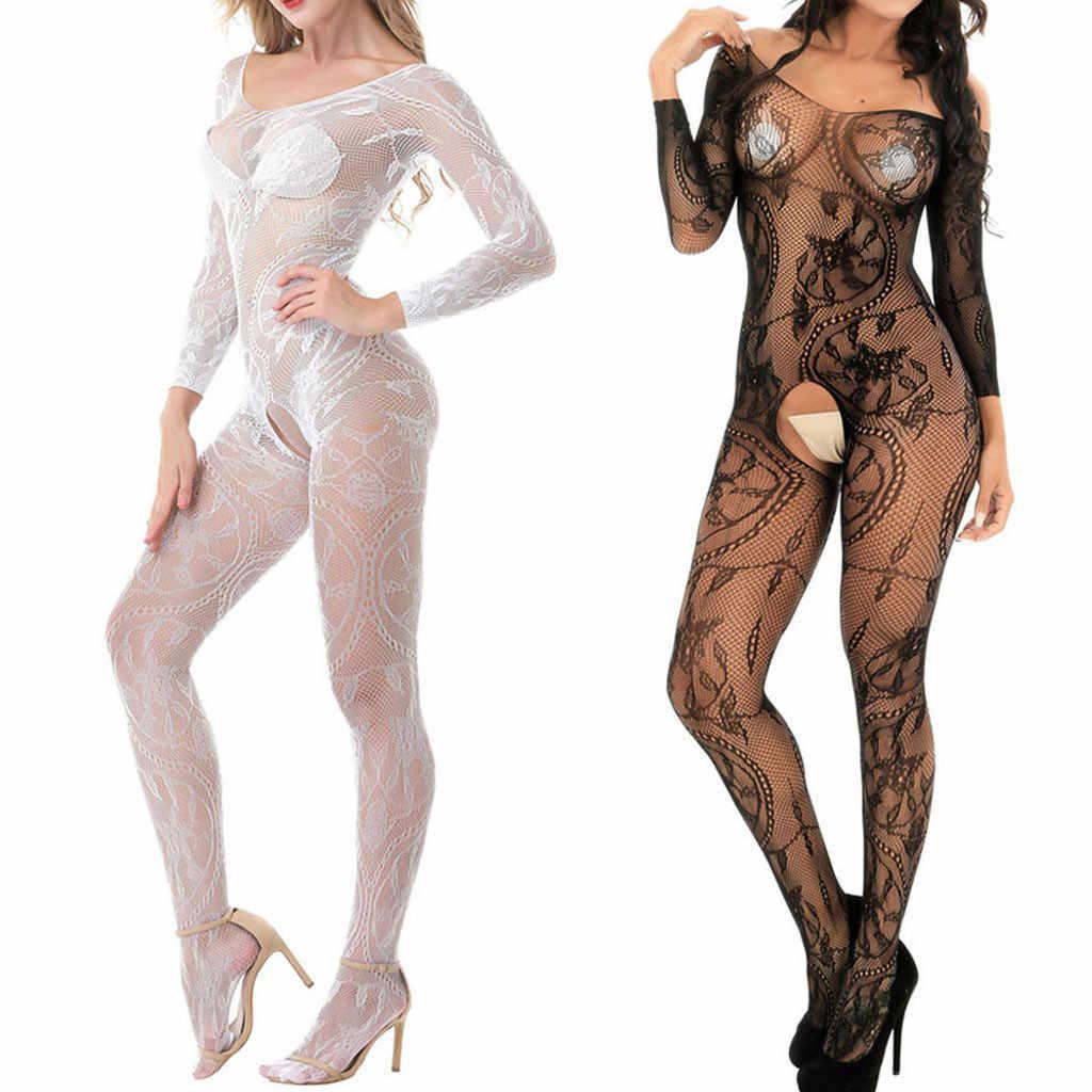 2018 mujeres negro porno Sexy trajes vestido de malla ropa interior de lencería erótica ropa de dormir de las mujeres Teddy Lencería