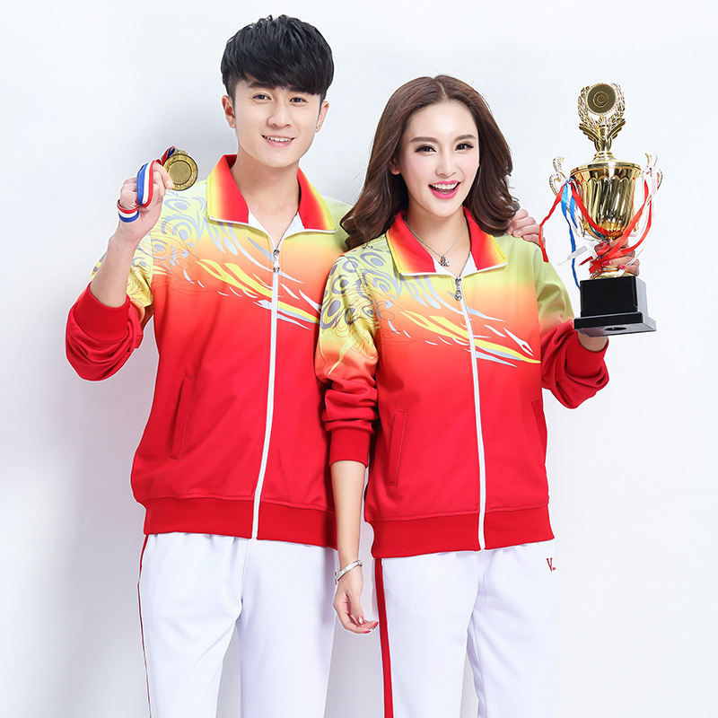 Spring And Autumn Sports Set Couple's Men And Women Running Square Dance Fitness Exercise Large Size Color Sports Clothing
