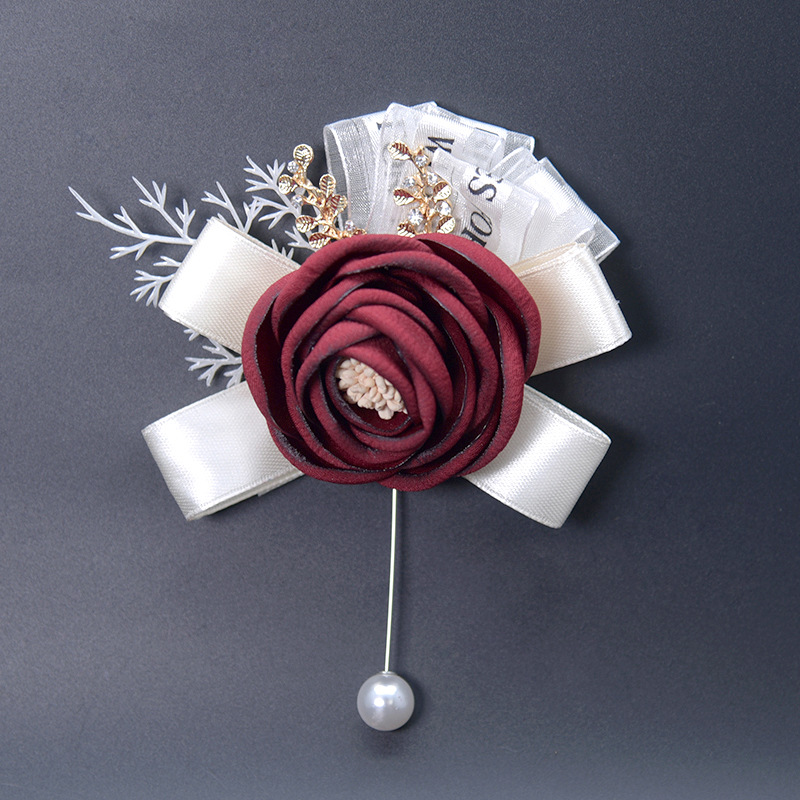 Wedding Boutonnieres Pins Prom Silk Ribbon Pearl Corsage Ceremony Flower Brooch Groom Groomsmen Buttonhole Flowers Boutonniere