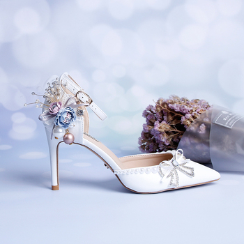 Bride Shoes Pearl Flowers Simple Fine-heeled Women's Sandals White Buckle Wristband Hollow Point High-heeled Shoes