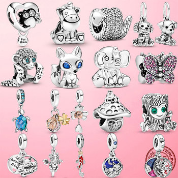 2021 925 Sterling Silver Turtle Fluffy Llama Snake Fox Dangle Charm ladybug Koala Beads Fit Original Pandora Bracelet Jewelry 1
