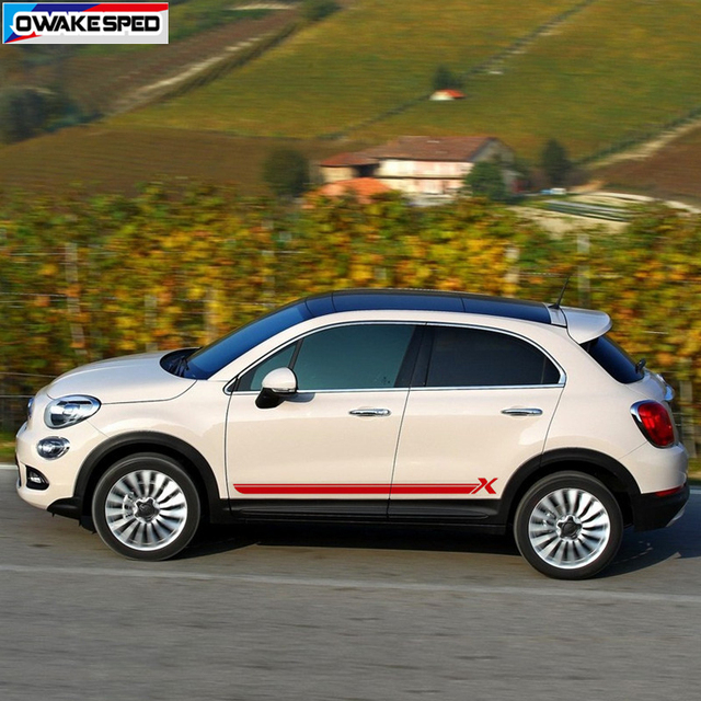 For Fiat-500X Sport Stripes Car Door Side Skirt Sticker Auto Body Decor Vinyl Decal Racing Styling Exterior Accessories 1