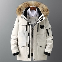 Thicken Men #8217 s Down Jacket With Big Real Fur Collar Warm Parka -30 degrees Men Casual Waterproof Down Winter Coat Size 3XL cheap SNOW PINNACLE CN(Origin) Wide-waisted LJX-5858 zipper Full Feathers Spliced Zippers Pockets Thick (Winter) Broadcloth