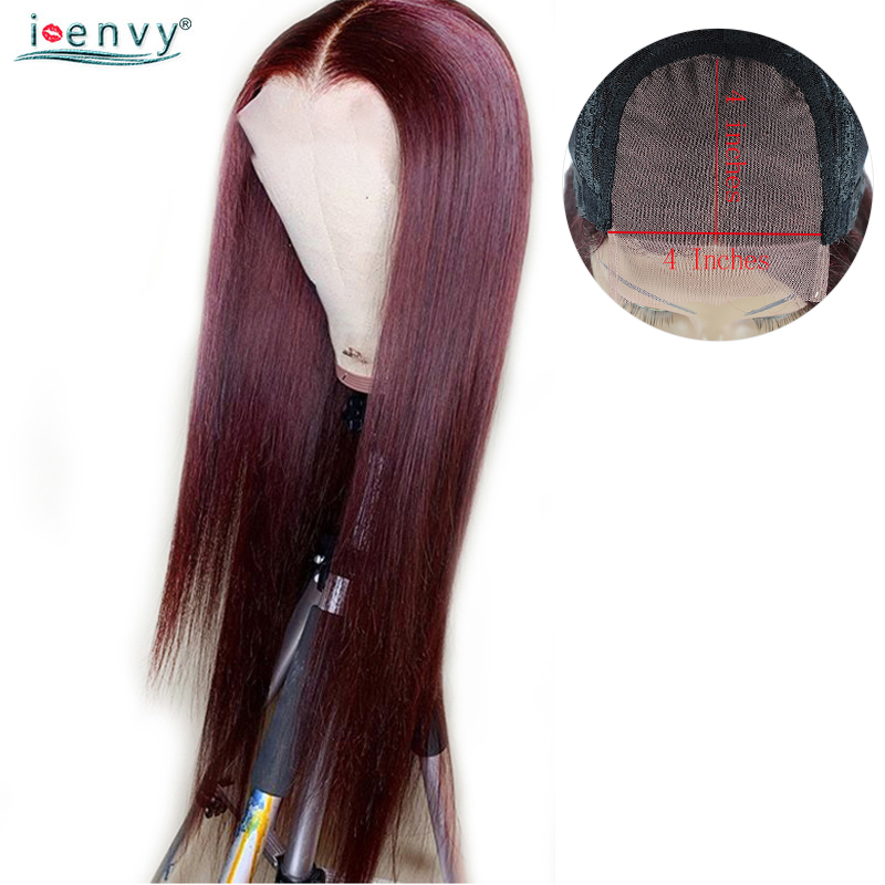Colored Burgundy Peruvian Straight Wigs For Black Women Dark Red 4X4 Lace Closure Human Hair Wigs Middle Part Lace Wigs Non Remy