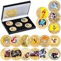 Full Set Japanische Anime Cartoon Gold Überzogene Gedenkmünze Set mit Halter Herausforderung Münze Original Design Geschenk für Kinder
