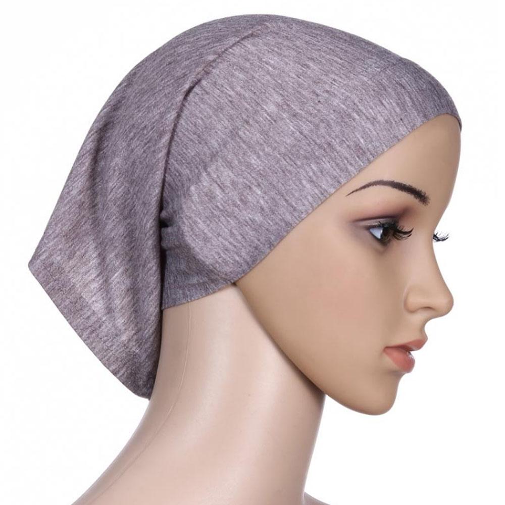 Мусульманский женский шарф Национальный Рамадан аксессуары для волос тюрбан декоративная хлопковая шапка шапочки под хиджаб Мода Защита от солнца пляж - Цвет: Gray