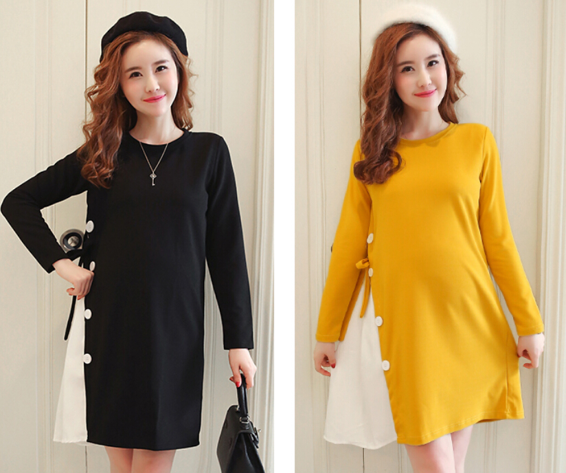 Envsoll New M-2XL Maternity Clothes Autumn Long Sleeve Cotton Pregnant Dress Black Yellow Pregnancy Clothes For Pregnant Women