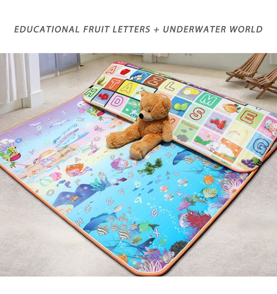 H81f85217343f44319c2c728283d5fa5ek Baby Play Mat 0.5cm Thick Foldable Crawling Mat Double Surface Baby Carpet Rug Cartoon Developing Mat for Children Game Playmat