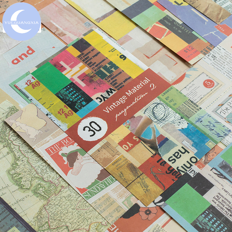 YueGuangXia Artistic Collage Kraft Card Scrapbooking/Card Making/Journaling Project DIY Retro Hangtag With Hole Cards 4pcs 31pcs