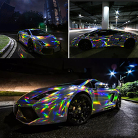 3M/5M/10M Holographic Chrome Rainbow Car Stickers Laser Plating Car Body Wrap Vinyl Film Automobiles Decor Sticker Films