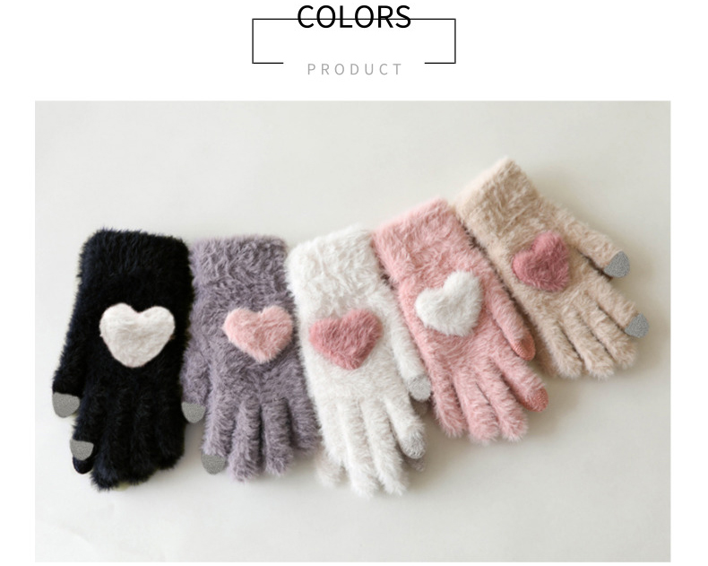 Fashionable and Knitted Touch Screen Gloves for Women Made of Soft Rabbit Wool with Pink Heart Design 9