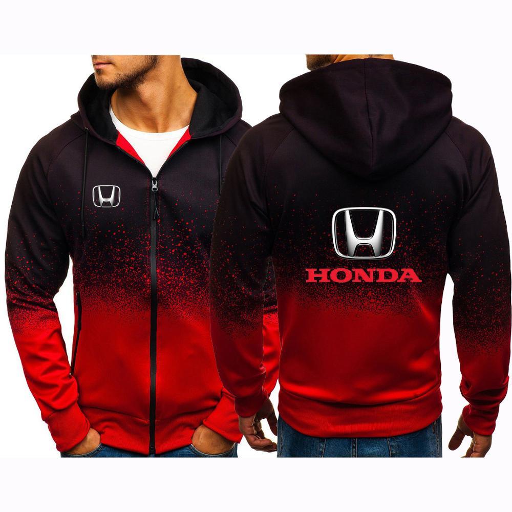 2021 Spring Men's Hoodie Gradient Color Sweatshirts Honda Car Logo Print Male Fashion Cotton Hoodies & Sportswear Zipper Jackets